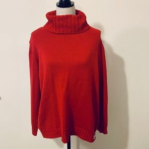 Olsen Europe Red Side Zip Turtleneck Sweater